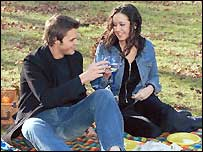 Two people enjoying a picnic