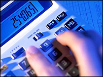 Someone using a calculator