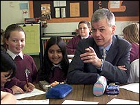 David Bell with school children