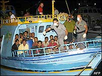Boat arrives in Lampedusa earlier this month