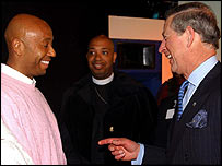 The prince also met hip-hop artists Russell Simmons (left) and Joseph Reverend Run of Run DMC
