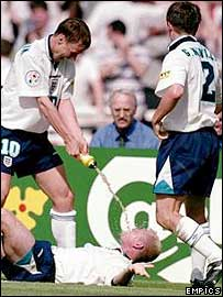 England celebrate Paul Gascoigne's goal against Scotland