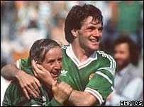 Ray Houghton celebrates scoring against England