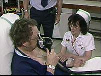 Nurse attending heart attack patient
