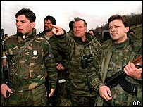 Ratko Mladic (pointing) during the civil war (1994)