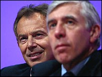 Jack Straw, right, with Tony Blair at the Labour conference