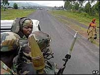 Congolese troops patrol a road near the border with Rwanda. Archive picture