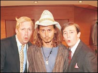 Depp with Mark Williams and Paul Whitehouse of the Fast Show