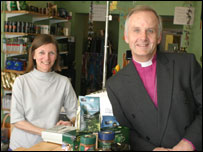 The Rev Dr Barry Morgan, Archbishop of Wales, with Jan Tucker of Fair Do's Fairtrade shop in Cardiff
