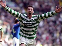 Chris Sutton celebrates his stunning goal