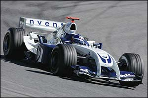 Juan Pablo Montoya corners in the BMW Williams