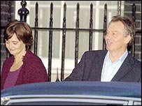 Tony Blair and wife Cherie leaving Downing Street on Friday morning