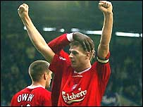 Steve Gerrard celebrates scoring the third goal