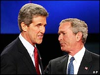John Kerry and George W Bush
