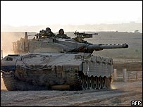 File picture of an Israeli tank