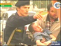 Injured child at the Dynamo stadium in Grozny after the blast