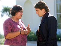 Gurinder Chadha with Martin Henderson who plays Darcy