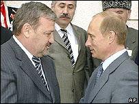 Chechen president Akhmad Kadyrov and Russian president Vladimir Putin