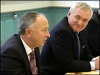 Dermot Ahern (left) and Bertie Ahern at the meeting