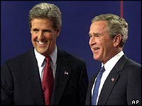 US President George W Bush [right] with Democratic challenger John Kerry at debate