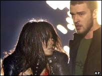 Janet Jackson and Justin Timberlake during the Superbowl, AP