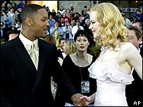 Will Smith and Nicole Kidman attend the Vanity Fair party - after Kidman wins the Oscar for The Hours