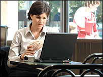 Woman using a laptop and other technologies