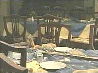 Tables covered in debris