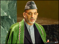 Hamid Karzai addresses the United Nations General Assembly, September, 2004