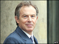 Tony Blair in Paris for Europe Day