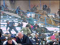 The Dynamo stadium in Grozny seconds after the blast