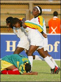 Ghana celebrate as Ethiopia's Endale Bezuhan holds her head in despair