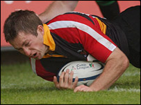 Dragons wing Gareth Wyatt scored a brace of tries