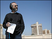 Radio 4's Robin Lustig makes use of the rooftop live position