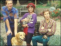 Simon Groom, Janet Ellis and Peter Duncan with George and the other Blue Peter pets