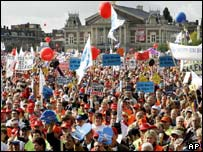 Protesters gather in Museum Square in Amsterdam, The Netherlands