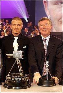 David Beckham y Alex Ferguson