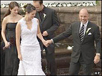 Kate Lee and Billy Joel on their wedding day