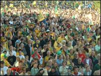 Norwich City fans celebrate