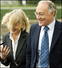 Michael Howard and his wife Sandra arrive in Bournemouth