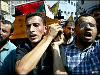 Palestinians at a funeral in the Jabaliya refugee camp