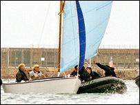 French maritime police surround  Eugene Riguidel's boat