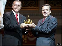 Recep Tayyip Erdogan receives award from Gerhard Schroeder