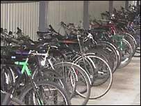 Bikes parked in bike racks