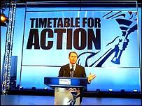 Conservative co-chairman Liam Fox unveils the party's conference set