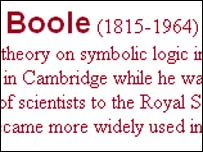 Screengrab of webpage showing wrong dates for death of George Boole, BBC