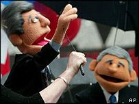Puppets of presidential nominees debating