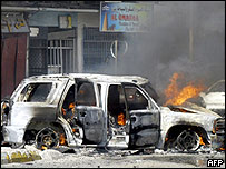 Aftermath of car bomb explosion in Saadoun Street, Baghdad