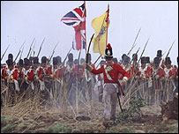 British soldiers in a dramatisation of the Battle of Waterloo