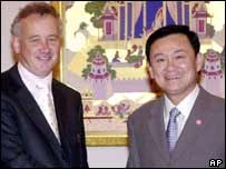 Liverpool chief executive Rick Parry and Thai PM Thaksin Shinawatra
